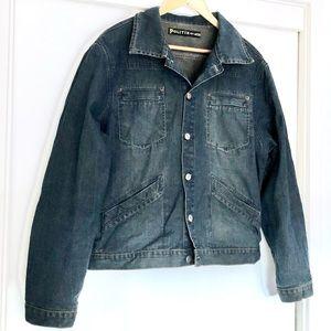 Vintage Y2K Men's POLITIX Denim Jacket Size XL